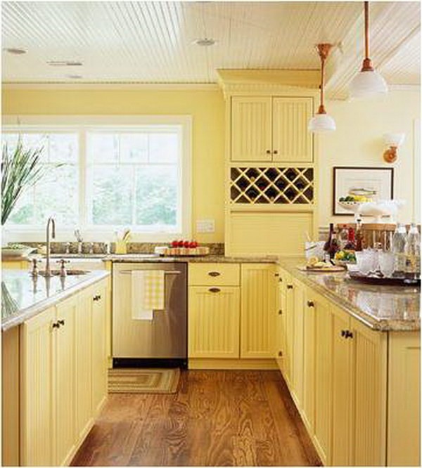Pale Lemon Yellow Kitchen Cabinets.