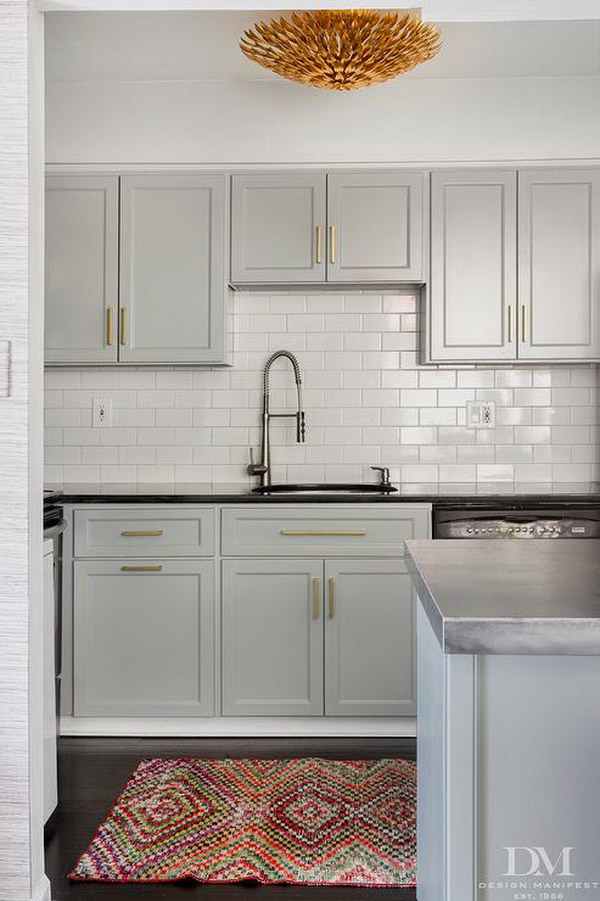 Charming Light Gray Painted Kitchen Cabinets