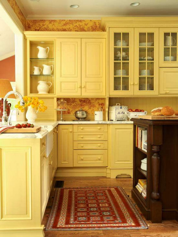 Traditional Yellow Kitchen Cabinets.