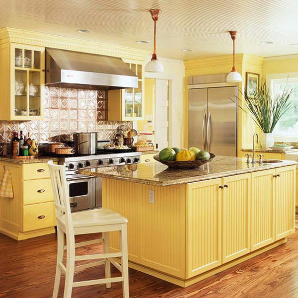 80 cool kitchen cabinet paint color ideas for Kitchen cabinets yellow