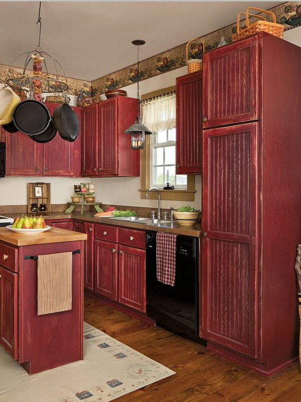 Vintage Red Painted Stock Cabinets for a Custom Country Kitchen.
