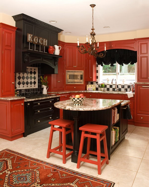Traditional Kitchen with Red Cabinets, Raised-Panel Cabinets.