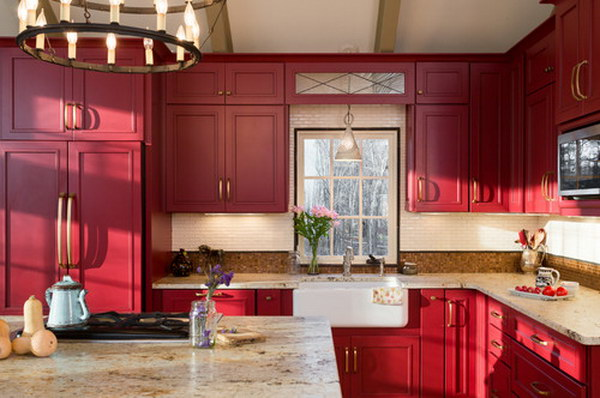 Original Tiny Farmhouse Kitchen with Red Painted Cabinets.