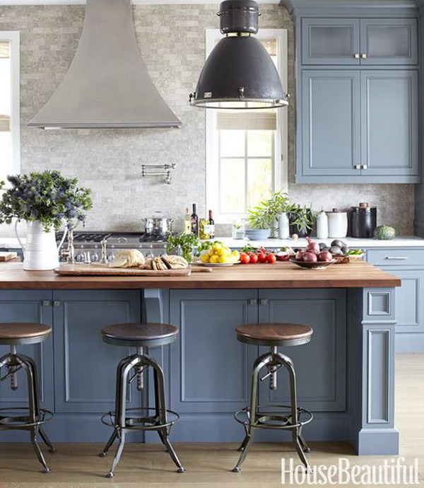 Gorgeous Gray and Blue Inspired Kitchen Cabinets.