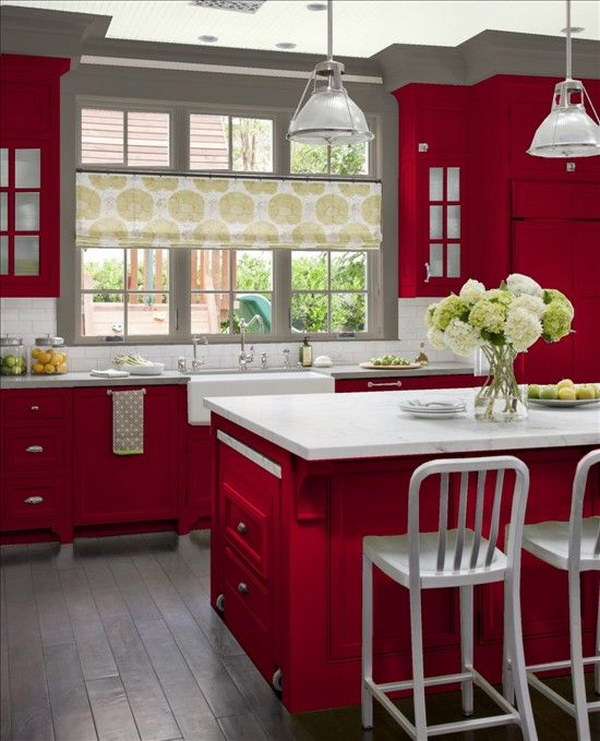 Cool Kitchen Cabinet Paint Color Ideas - Red and grey kitchen cabinets
