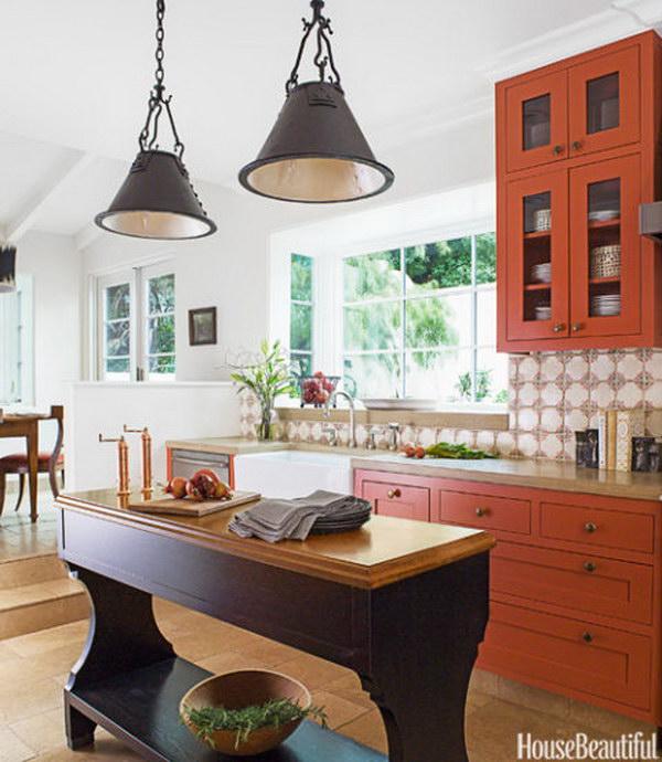 Burnt Orange Kitchen Cabinets.