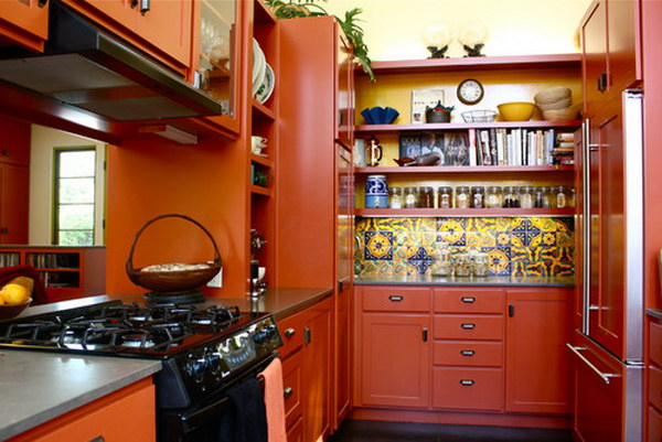 Red Orange Kitchen 80+ cool kitchen cabinet paint color ideas