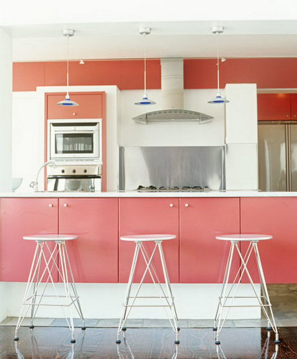 Soft Pink Painted Kitchen Cabinets