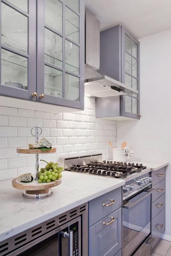 Off-purple or Gray Kichen Cabinet Paint Color.