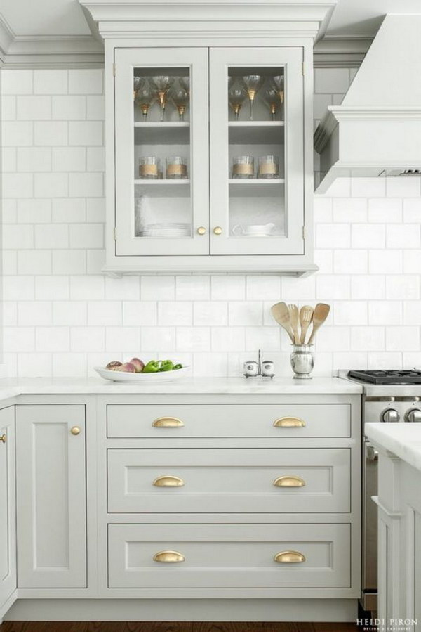 Gorgeous Pastel Gray Kitchen Cabinets.