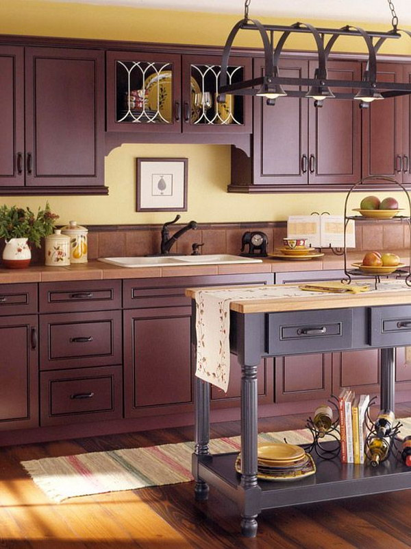 Dark Brown Painted Kitchen Cabinets.