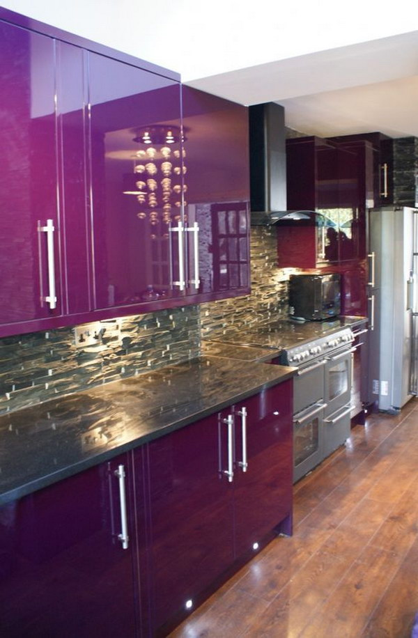 Enthralling Purple Kitchen With Cabinet