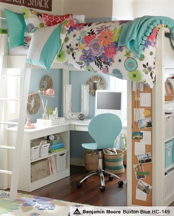 Wonderful Loft Bed Ideas Part - 12: Teen Girl Loft Bed With Homework Station