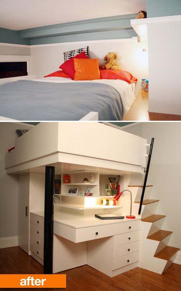 Lofted Bed With Stairs And Desk And Storage Below