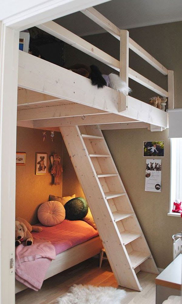 30 cool loft beds for small rooms for Girls bedroom decorating ideas with bunk beds