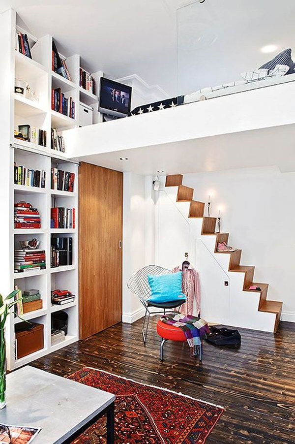 Small Loft Bed With Home Library. 30  Cool Loft Beds for Small Rooms