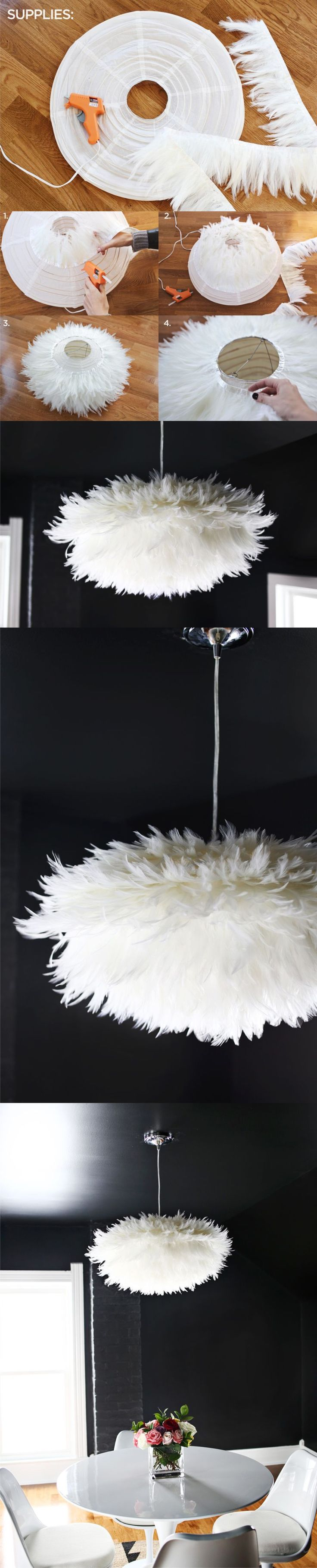 DIY Chic White Feather Chandelier.