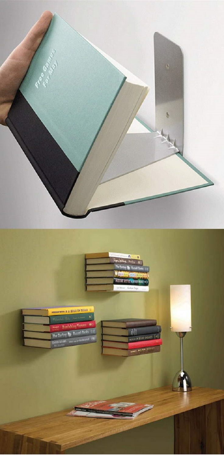 DIY Book Shelves Made out of Books.  Install invisible bookshelves that give a magical and interesting look to the viewers.