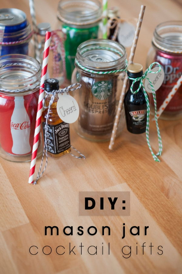 DIY Mason Jar Cocktail Gifts.