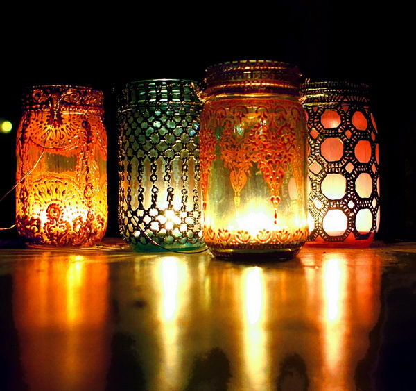 Moroccan Painted Mason Jars.