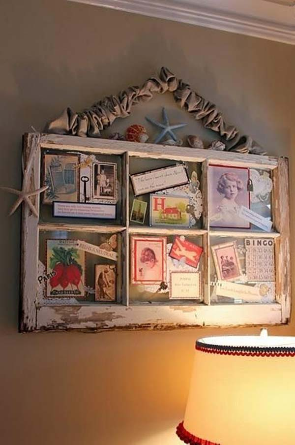Old Window Turned Family Photos Frame.