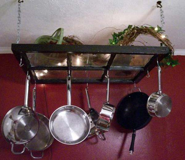 A wonderful pot rack for your kitchen.