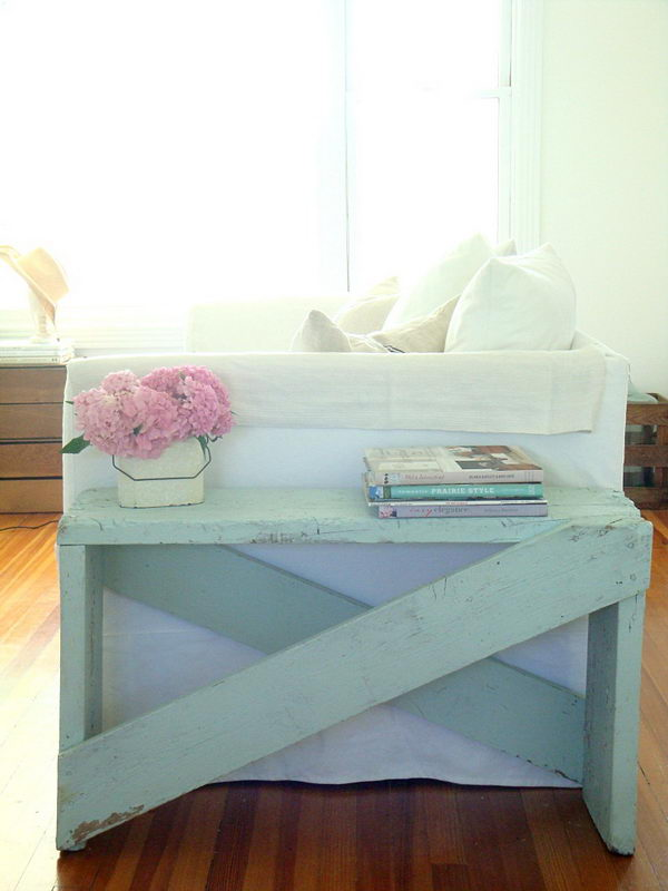 DIY Pale Aqua End Table Made out of 5 Boards.