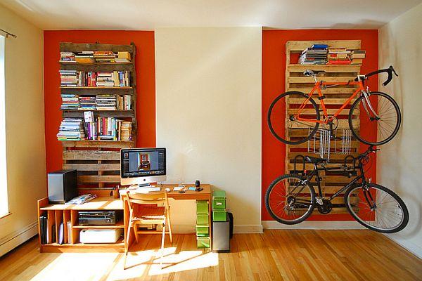 Pallet Bookshelf and Bike Rack.