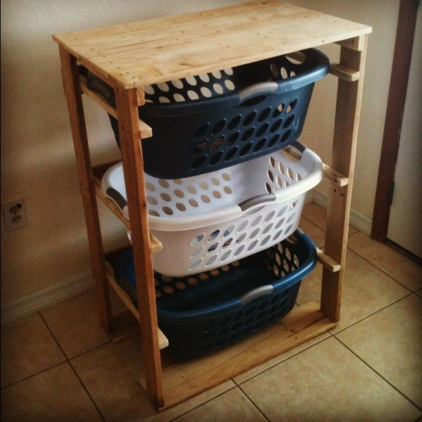 DIY Pallet Laundry Basket Dresser. Get the tutorial