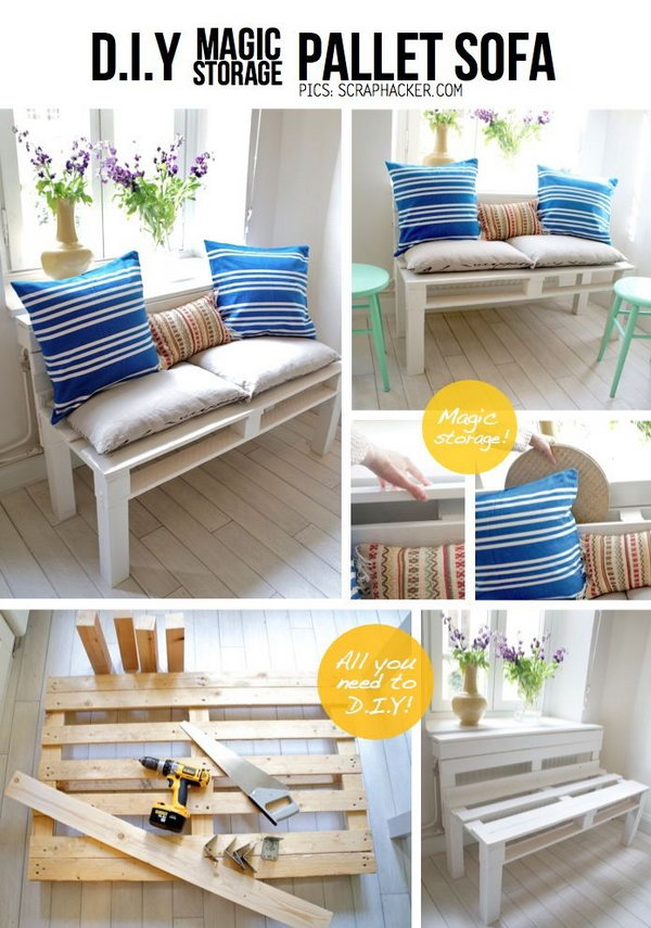 DIY Pallet Sofa with Storage.  See the tutorial