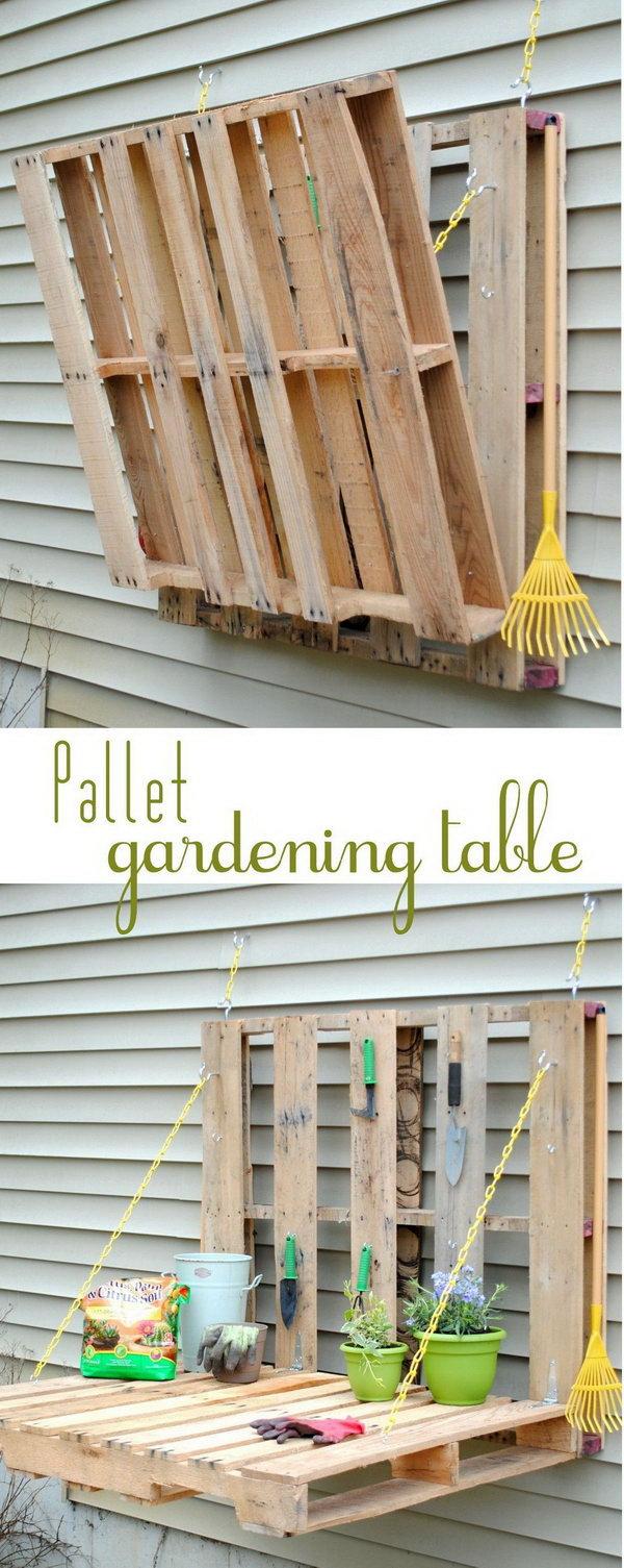 DIY Pallet Gardening Table.  Get the tutorial