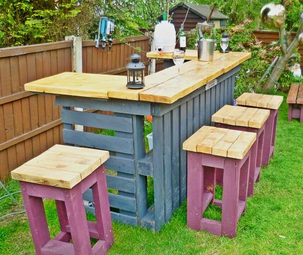 Pallet Outdoor Bar and Stools. See the tutorial