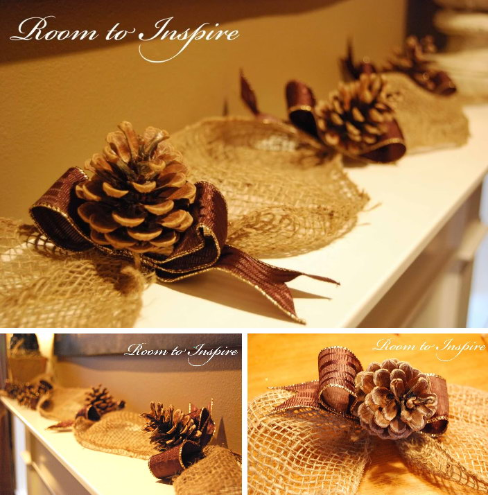 Elegant and Rustic Burlap Pinecone Garland