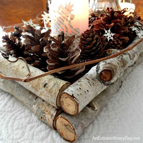 Birch,Pine Cones and Book Pages Winter Woodland Tablescape