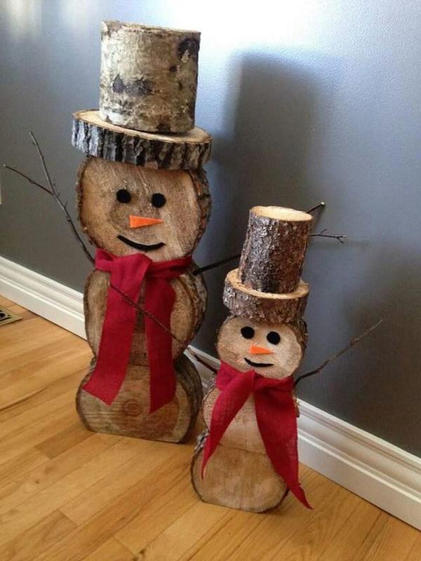 Log Snowmen Decorations.