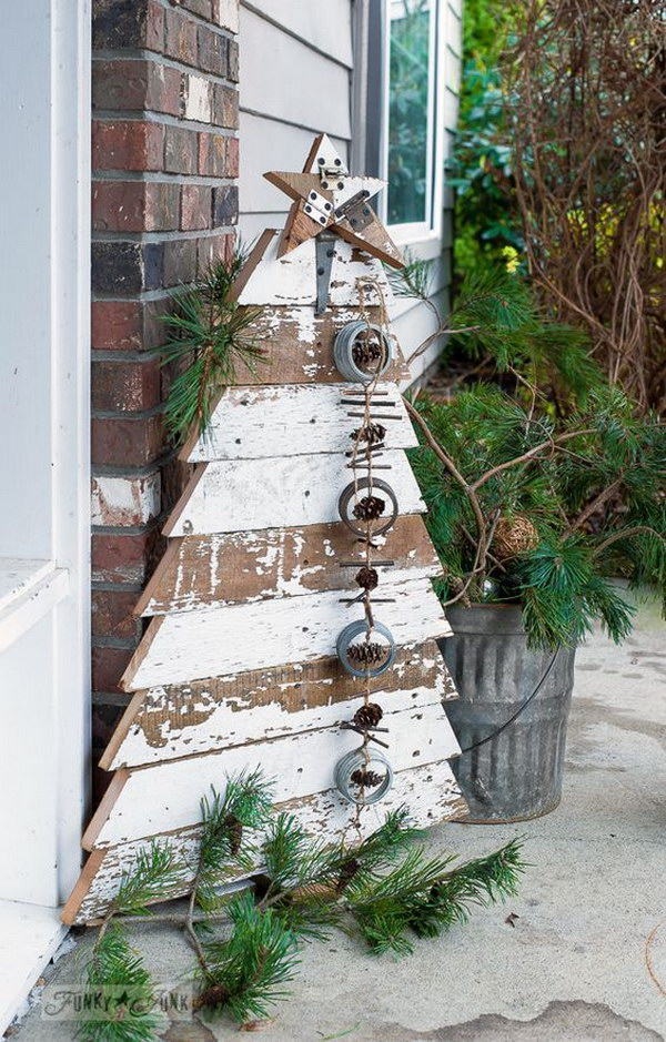 Reclaimed Wood Christmas Tree And Star In Chippy White Boards For A Front Porch.