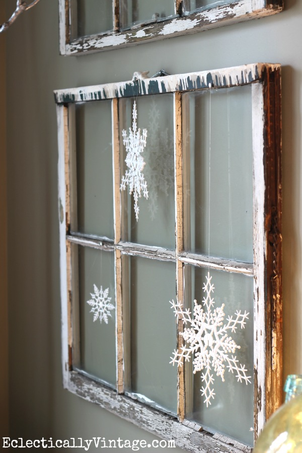 Rustic Christmas Window Decoration with Snowflakes.