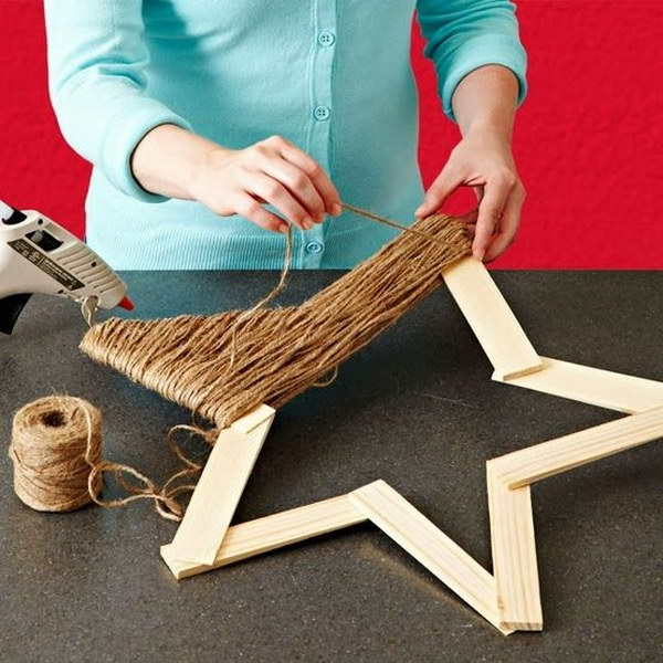 Wrap Jute Around A Wooden Star For Rustic Christmas Decoration.