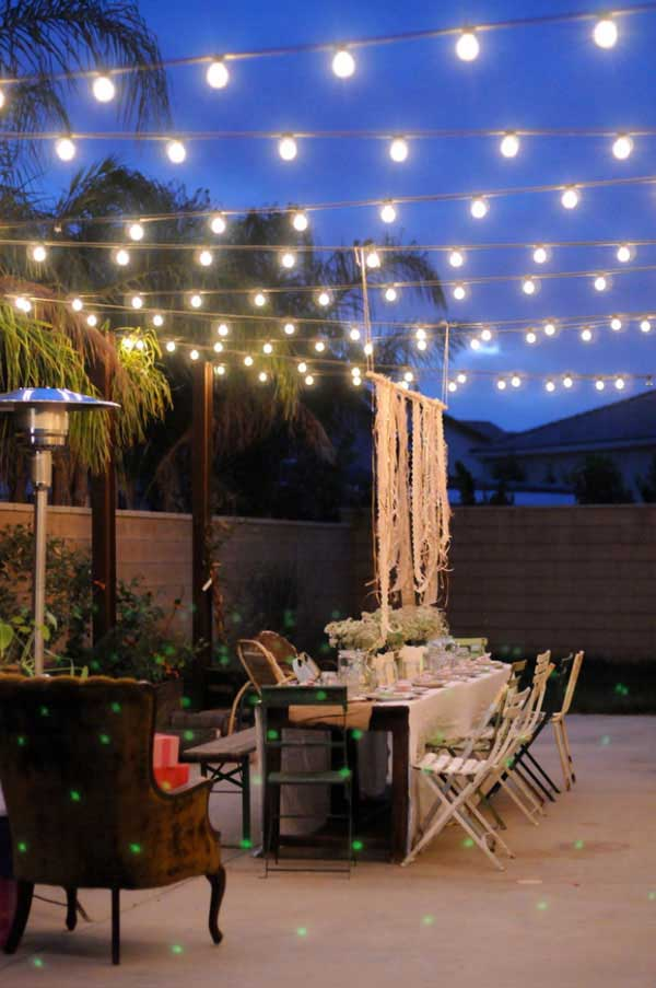 Rustic Patio Designed with String Lights.