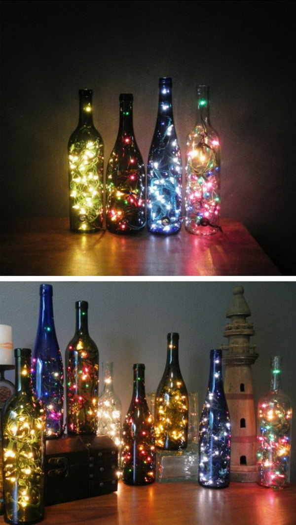 Wine Bottle with String Lights for Table Centerpiece.