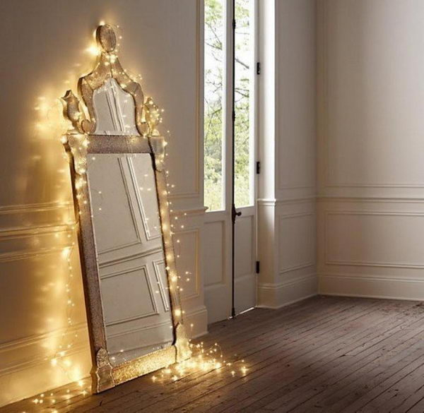 Mirror Decoration with String Lights.