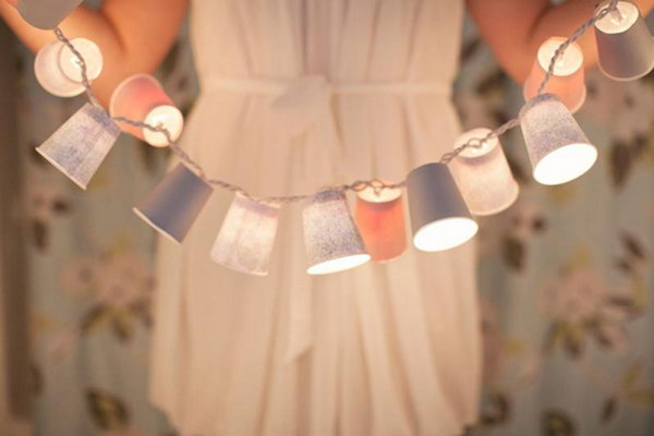 DIY Cup Garden String Lights. See the tutorial