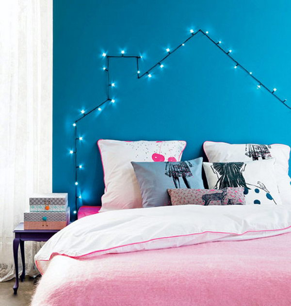 DIY String Light Headboard.