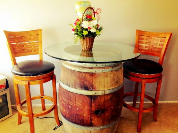 DIY Wine Barrel Table.