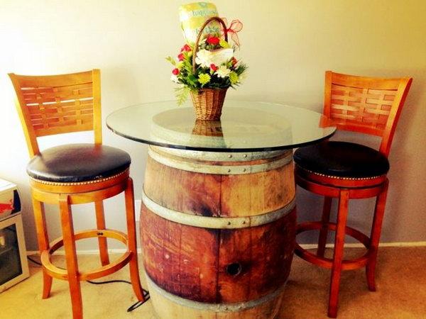 DIY Wine Barrel Table.