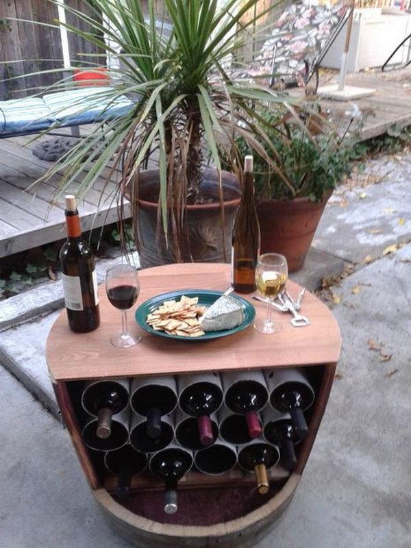 DIY Wine Barrel Wine Rack.