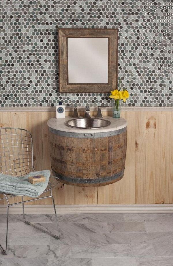 Wine Barrel Bathroom Sink.