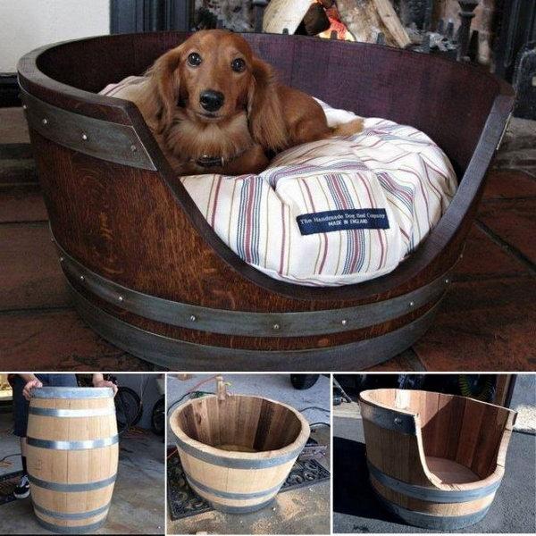 Wine Barrel Pet Bed.