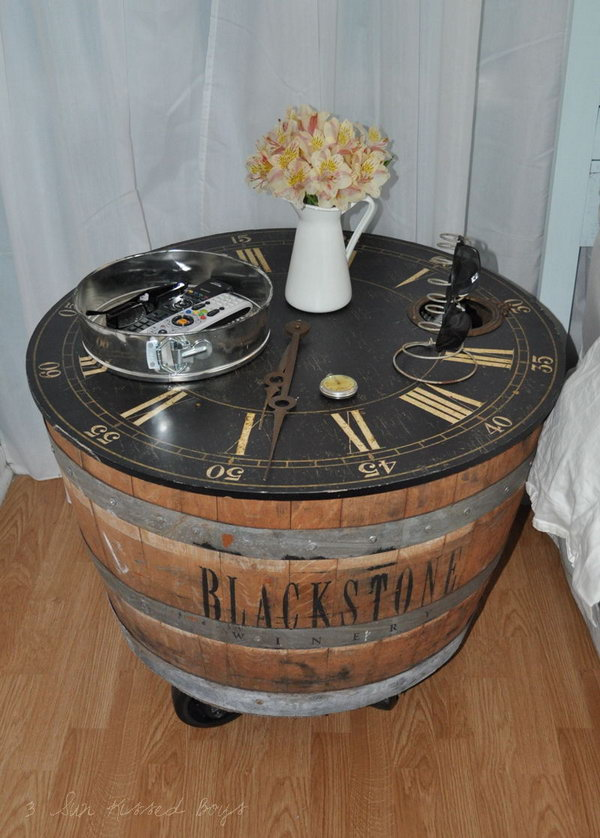 DIY Wine Barrel Nightstand.