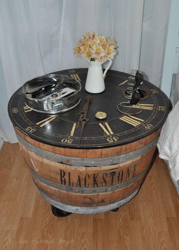 DIY Wine Barrel Nightstand.